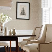 Thibaut Curtis Linen Damask wallpaper in Metallic Gold on Natural