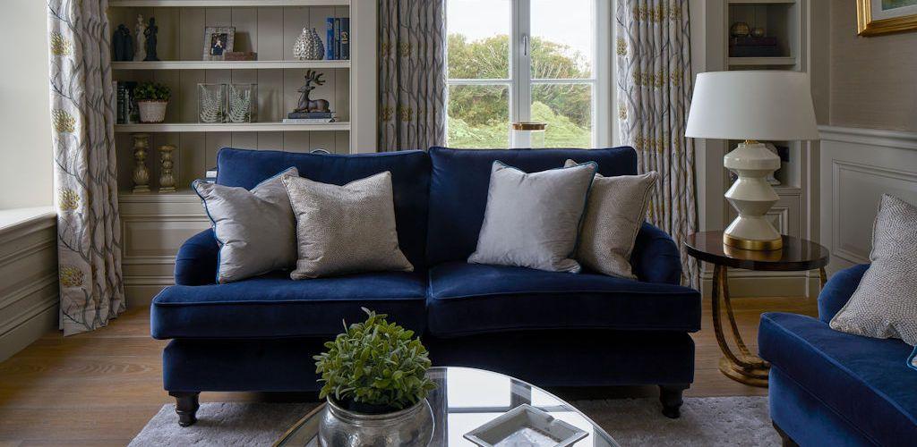 Living Room Blue Sofa